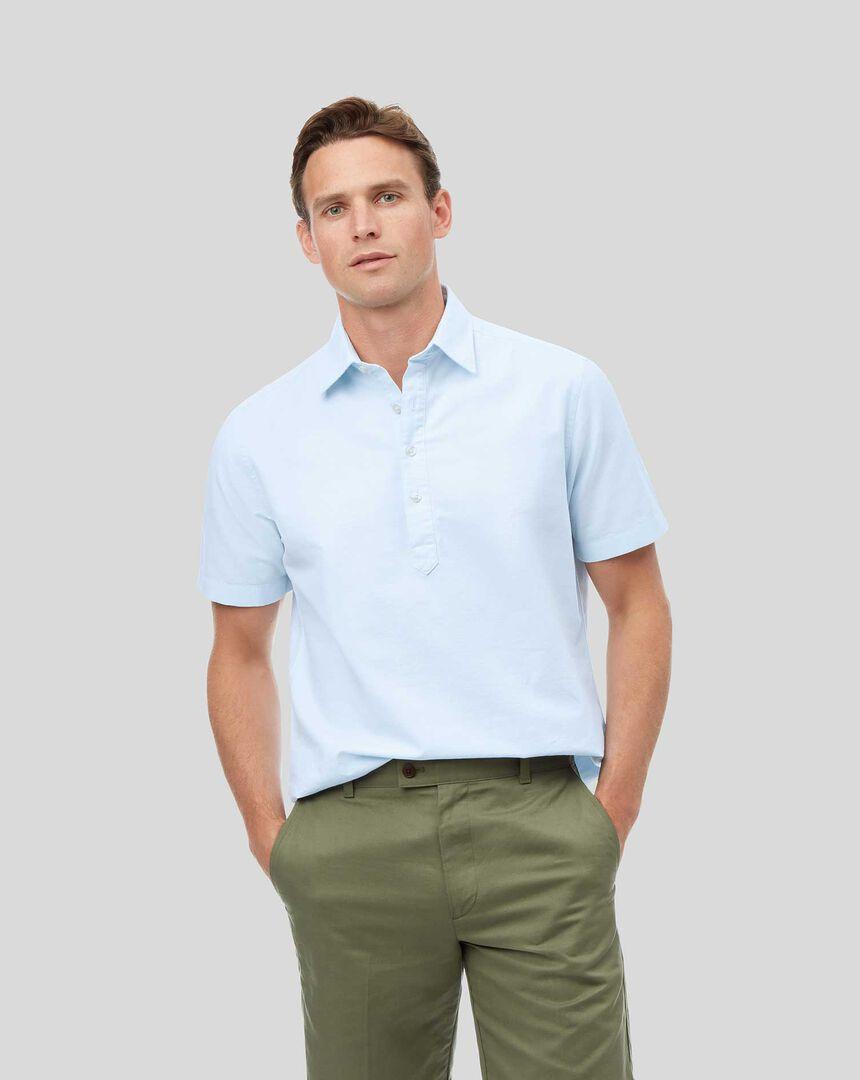 Classic Collar Short Sleeve Artist Shirt - Sky