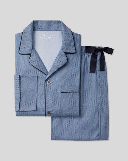 Geo Print Pyjama Set  - Navy & Blue