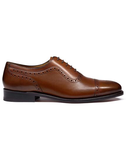 Brown Goodyear welted Oxford brogue shoe