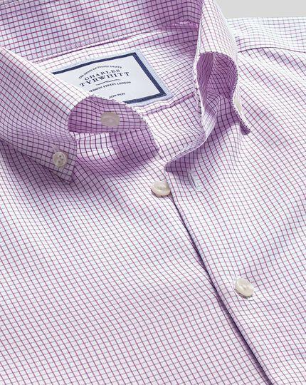 Bügelfreies Hemd mit Button-down-Kragen und Karos - Violett