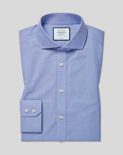 Slim fit non-iron 4-way stretch blue shirt