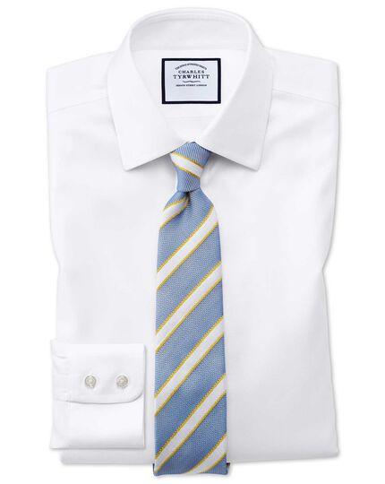 Chemise blanche en tissage échelle coupe droite sans repassage