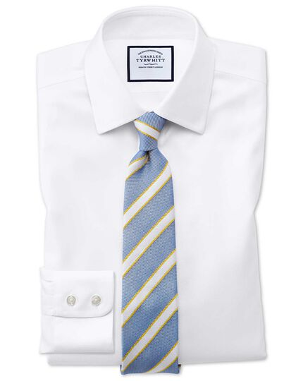 Classic fit non-iron step weave white shirt