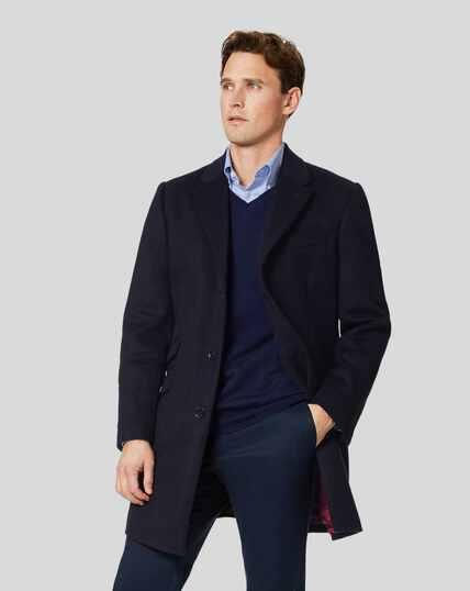 Epsom-Mantel aus italienischem Wolle-Kaschmir-Mix - Marineblau