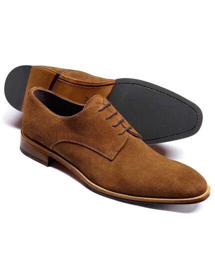 Tan Grosvenor suede Derby shoes