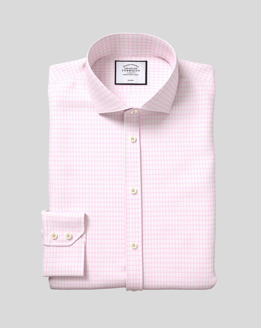 Spread Collar Non-Iron Cotton with TENCEL™ x REFIBRA™ Check Shirt - Pink