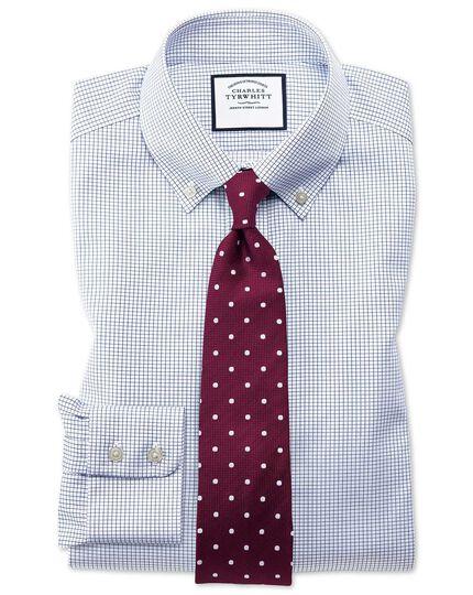 Chemise bleu marine en twill sans repassage avec carreaux simples, col boutonné et coupe droite