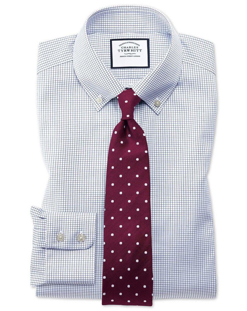 Classic fit button-down non-iron twill mini grid check navy shirt