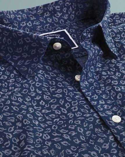 Slim Fit Chambray-Hemd mit Blattmuster in Blau