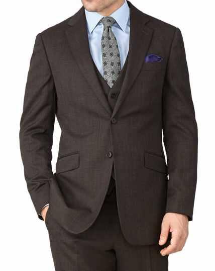 Brown slim fit end-on-end business suit jacket