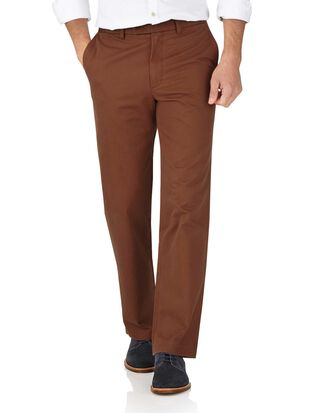 Brown classic fit flat front weekend chinos