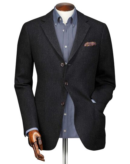 Slim fit charcoal textured wool jacket