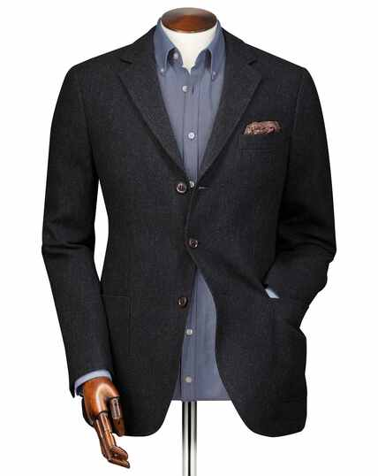 Slim fit charcoal textured wool jacket