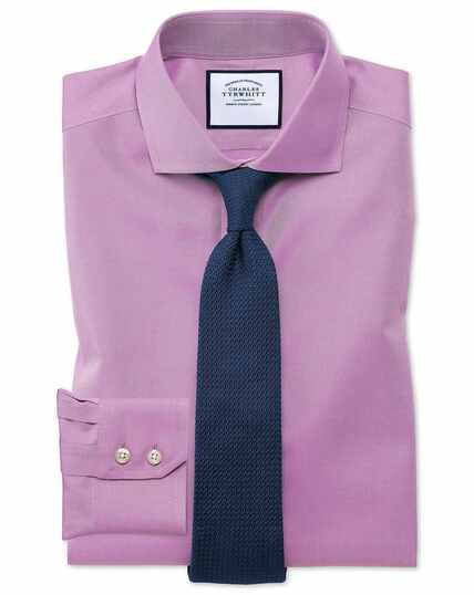 Extra slim fit spread collar non-iron twill violet shirt