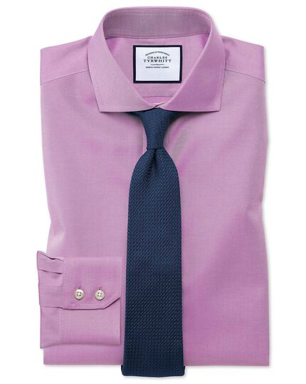 Extra slim fit cutaway collar non-iron twill violet shirt