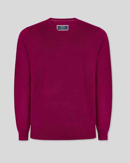 Merino V-neck Sweater - Raspberry