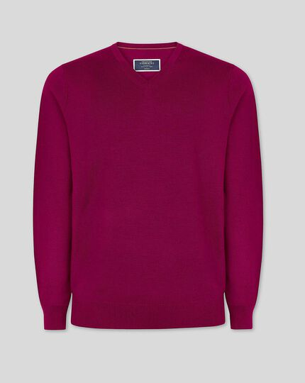 Merino V-Neck Jumper - Raspberry