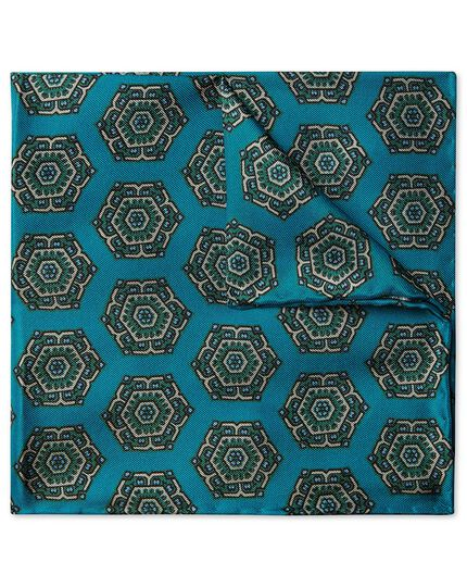 Teal medallion print pocket square