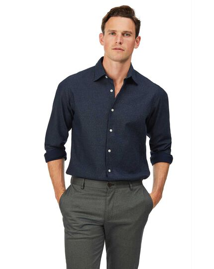 Slim fit honeycomb soft washed textured navy shirt