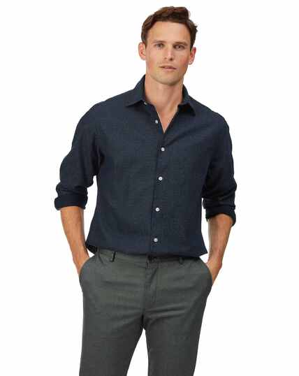 Classic fit navy honeycomb soft washed textured shirt