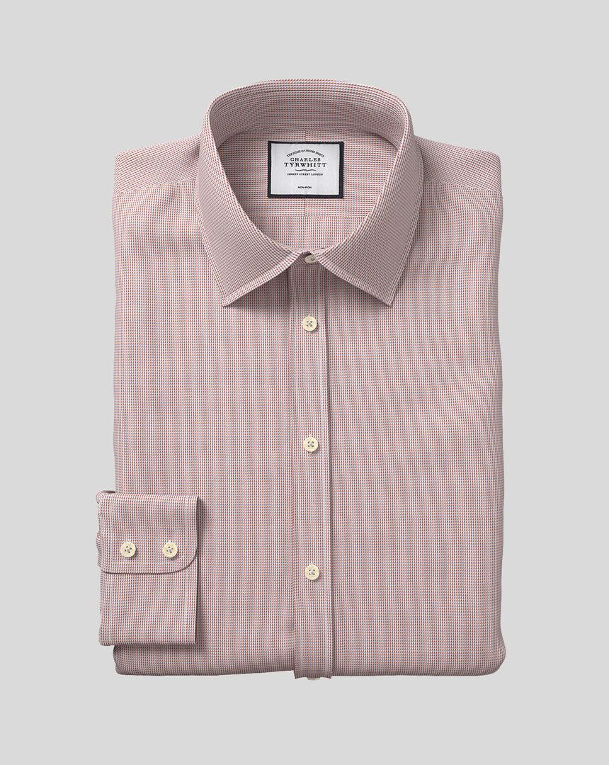 Bügelfreies Hemd aus Dobby-Gewebe mit Kent-Kragen - Beerenrot