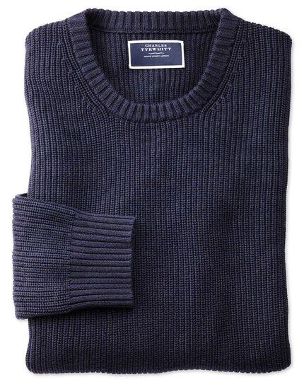 Navy crew neck pima cotton yak rib sweater