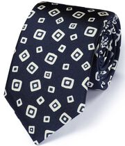 Navy silk Italian luxury square tie