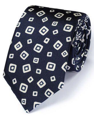 Navy silk Italian luxury square tie