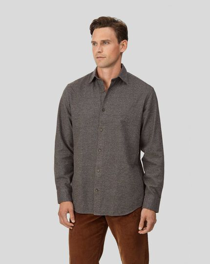 Classic fit brown puppytooth winter flannel shirt