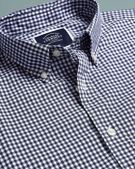 Classic fit navy short sleeve gingham soft washed non-iron stretch poplin shirt