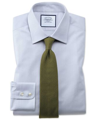 Extra Slim Fit Hemd aus ägyptischer Baumwolle mit Gitterstruktur in Grau