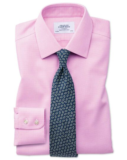 Classic fit non-iron square weave pink shirt