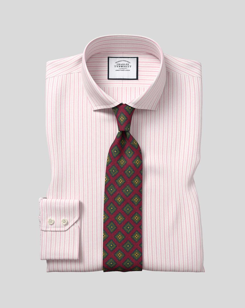 Cutaway Collar Stretch With TENCEL™ Stripe Shirt- Pink