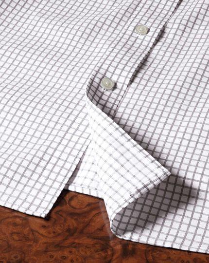 Bügelfreies Classic Fit Hemd in Braun mit Windowpane-Karo