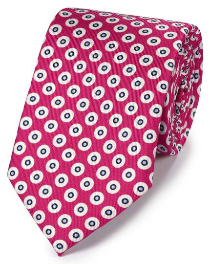 Bright pink silk printed geometric classic tie