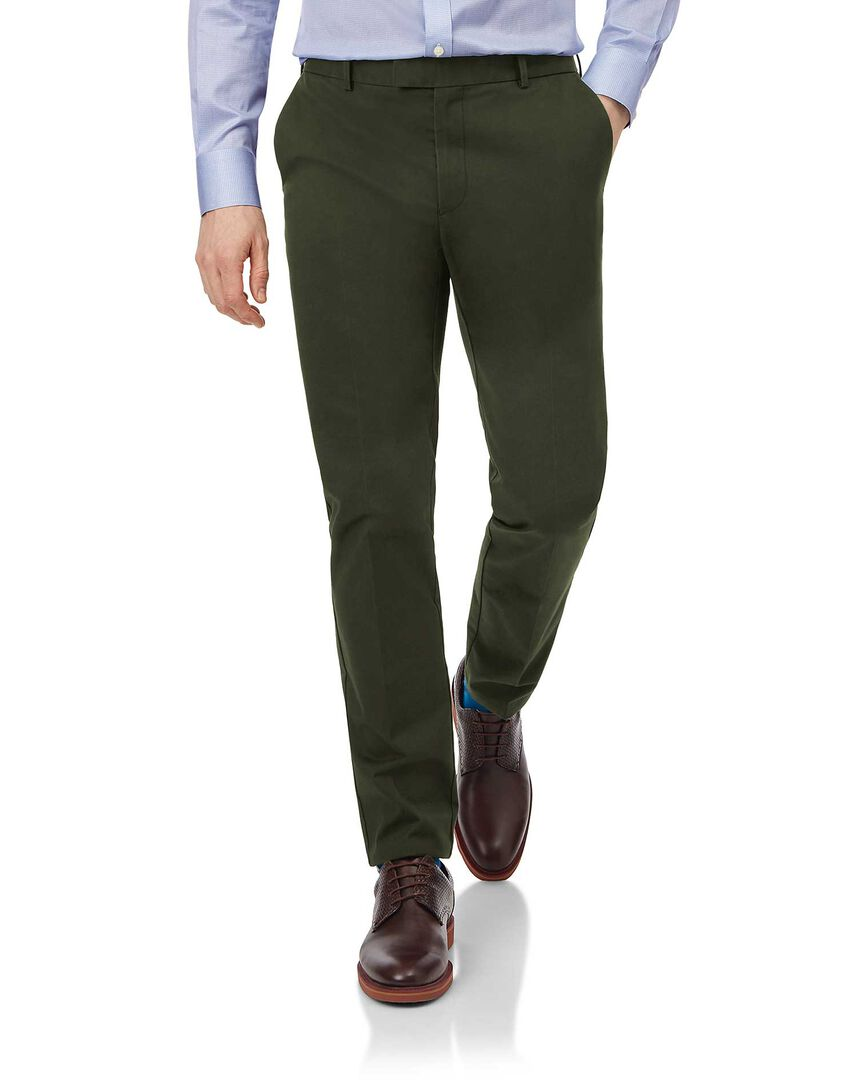 Dark green flat front non-iron chinos
