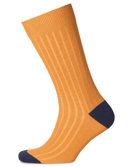 Dark yellow cotton rib socks
