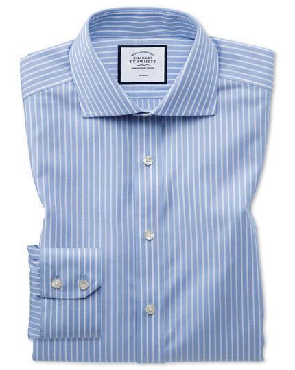 Extra slim fit non-iron cotton stretch Oxford sky blue and white stripe shirt