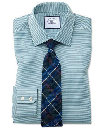 Chemise bleu canard à petit motif pied-de-poule en coton égyptien slim fit