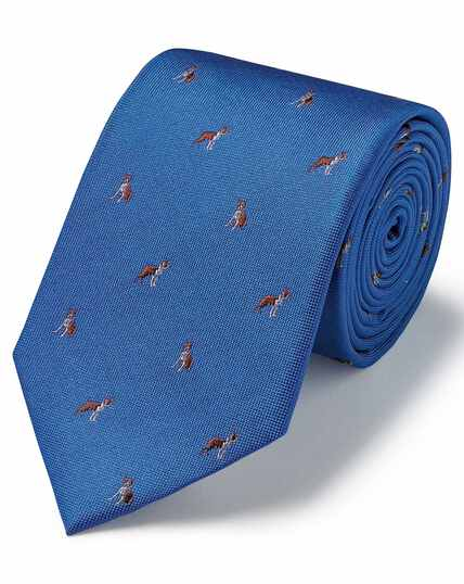 Royal silk motif jacquard French bulldog classic tie
