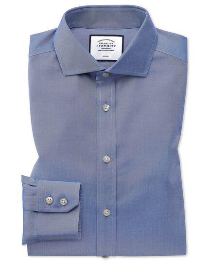 Extra slim fit cutaway non-iron twill mid blue shirt