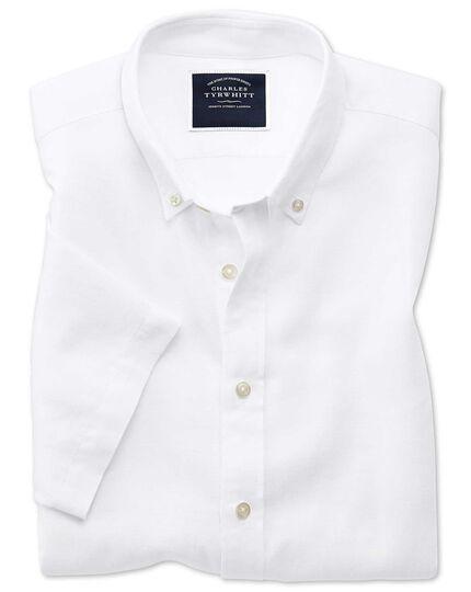 Chemise blanche en twill de coton et lin slim fit à manches courtes