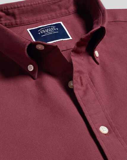 Button-Down Collar Washed Oxford Shirt - Burgundy
