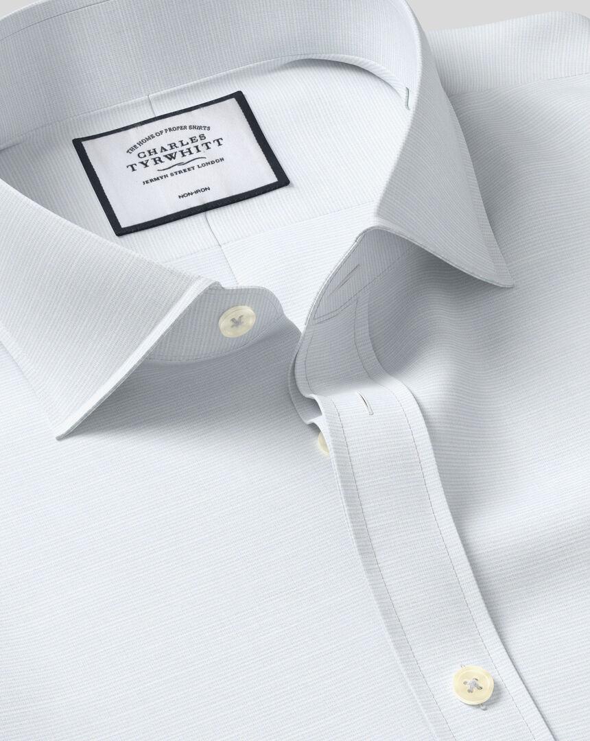 Cutaway Collar Non-Iron Cotton Slub Shirt - Light Blue
