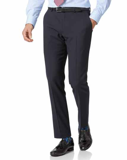 Navy slim fit herringbone business suit trousers