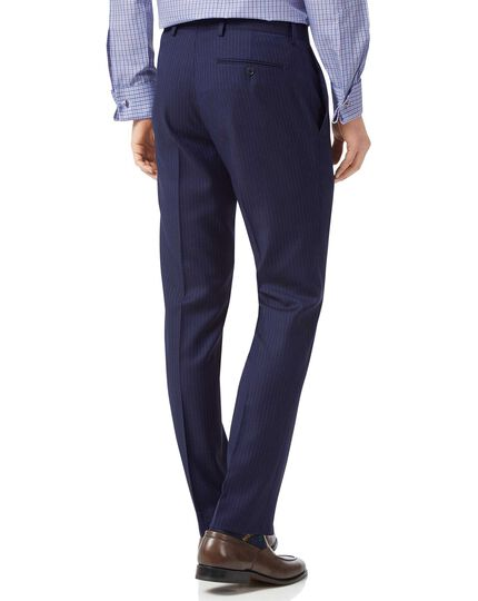 Pantalon de costume business bleu à rayures en twill slim fit