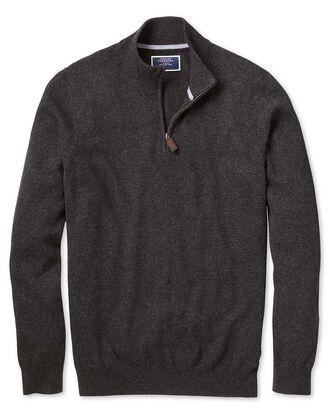 Charcoal zip neck cashmere jumper