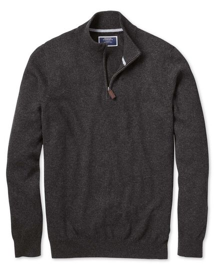 Charcoal zip neck cashmere sweater