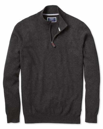 Charcoal zip neck cashmere jumper