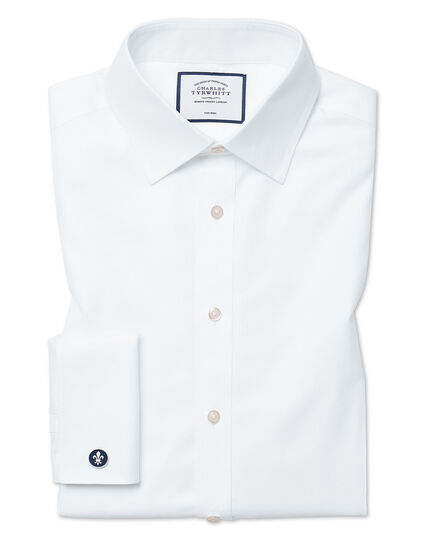 Slim fit non-iron twill white shirt